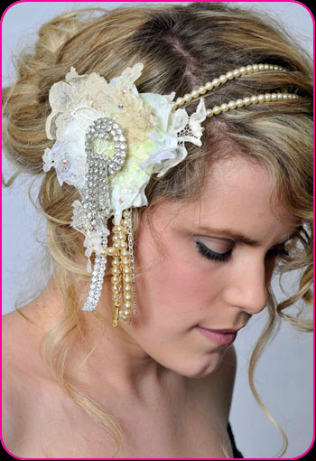Bridal Pearls headband with flower corsage by Bellapacella